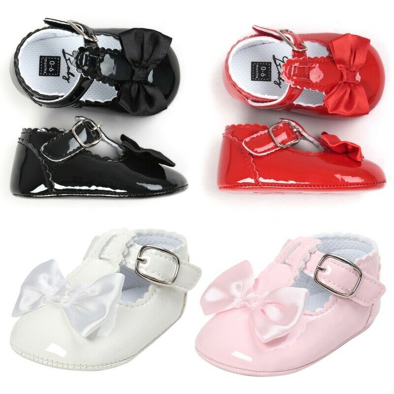 Sweet Bowknot Patent Crib Shoes Soft Infant Baby Girl Mary Jane Newborn to 18M