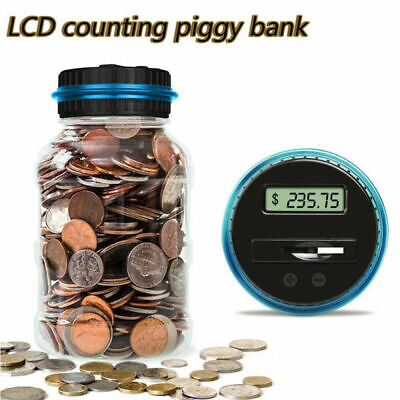 Digital Piggy Bank Coin Savings Counter Lcd Counting Money Jar Change Box Dollar