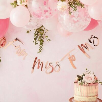 From Miss To Mrs Banner (Rose Gold FROM MISS TO MRS Scripted Banner Bride to Be Wedding Decoration)
