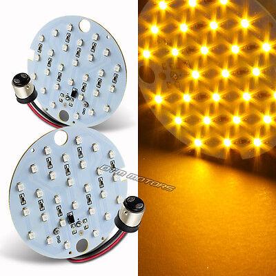 2X Amber 27 SMD LED Turn Signal Daytime Running Light Blinker Bulb DRL Harley