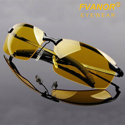 Polarized Mens Sunglasses Night Vision Anti Glare Driving Fishing Yellow (Polarised Vision)