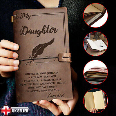 To My Daughter Love Dad/Mom Vintage Engraved Leather Journal Notebook Diary Gift