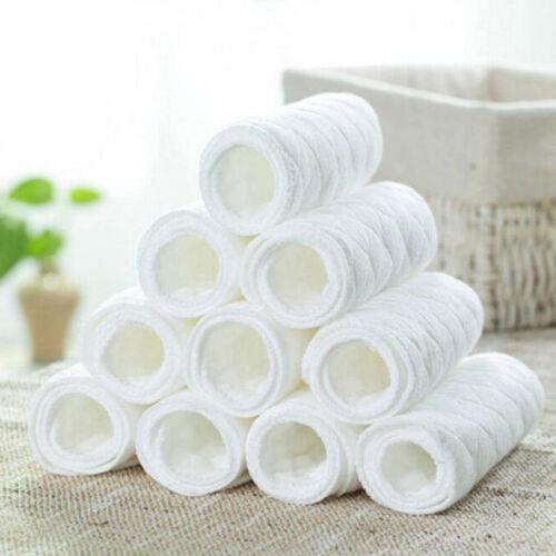 10Pcs Baby Cotton Cloth Diapers Reusable Inserts Liners 3 La