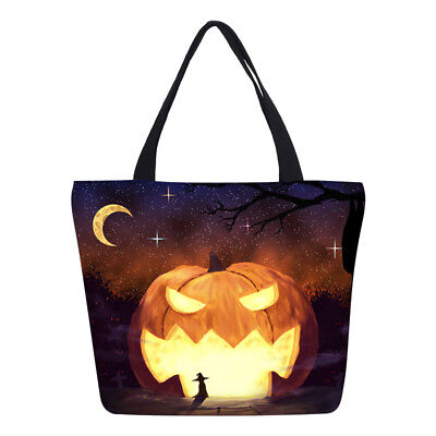 Pumpkin Lantern Canvas Tote Bag Women Large Shopper Carry Pouch Halloween Gifts ()