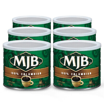 MJB® Coffee, Case of 6 - 23 oz Cans, 100% Colombian, Medium Roast, Ground