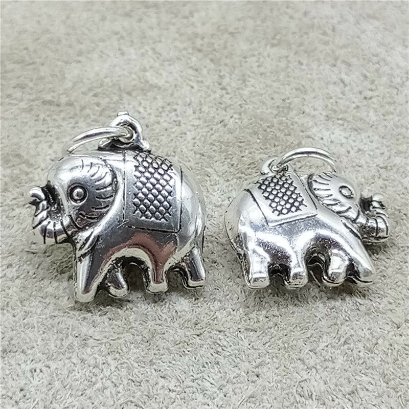 925 Sterling Silver Elephant Charm Pendant 2-Sided for Necklace
