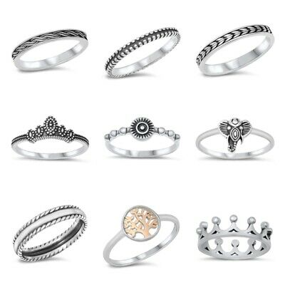 925 Sterling Silver PRETTY FASHION SILVER BAND DESIGN RINGS SIZES 4 to 10 **