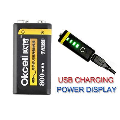 OKcell 9V 800mAh Lipo Battery USB Rechargeable High Quality Upgrade Lipo Battery