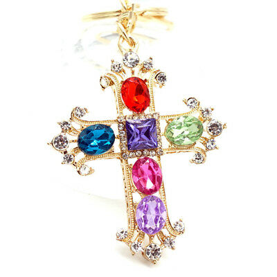 Key Chains cross Keyring Handbag Rhinestone Crystal Charm Pendant Necklace