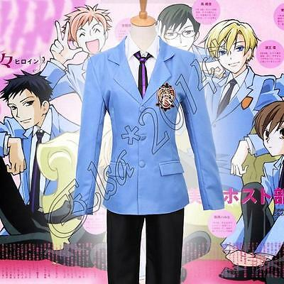 Anime Ouran High School Host Club Unisex Jacket Cosplay Blue Coat Costume New