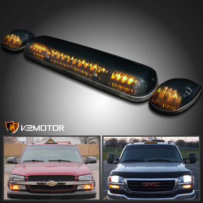 3 Pieces Truck Pickup Smoke Amber LED Cab Roof Running Marker Lights Lamps