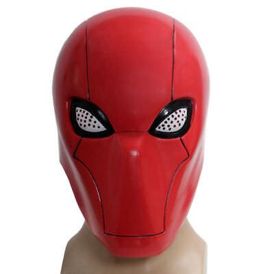 Batman Red Hood Halloween Costume (Red Hood Helmet Batman Cosplay Full Head Mesh Mask Costume Props Halloween)