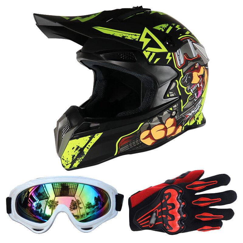Motocross DOT Motocicletta Off road Proteggi Caschi + Occhiali + Guanti ABS PGS