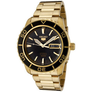 Seiko 5 Sports Automatic Gold Tone Black Face Style Watch
