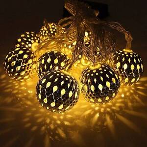 Moroccan Metal Ball String LED Light Christmas Xmas Wedding Deco Chatswood Willoughby Area Preview