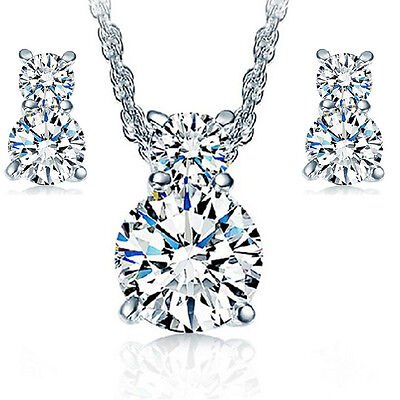 925 Silver Zircon Pendant Necklace Earrings Set Women Fashion Jewelry Gift, used for sale  Shipping to Nigeria