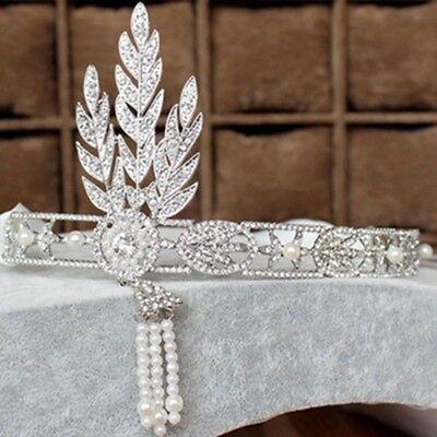 The Great Gatsby Headband Set Tiara Bracelet 1920's Hat Silver Ivory Flapper - The Great Gatsby Hats