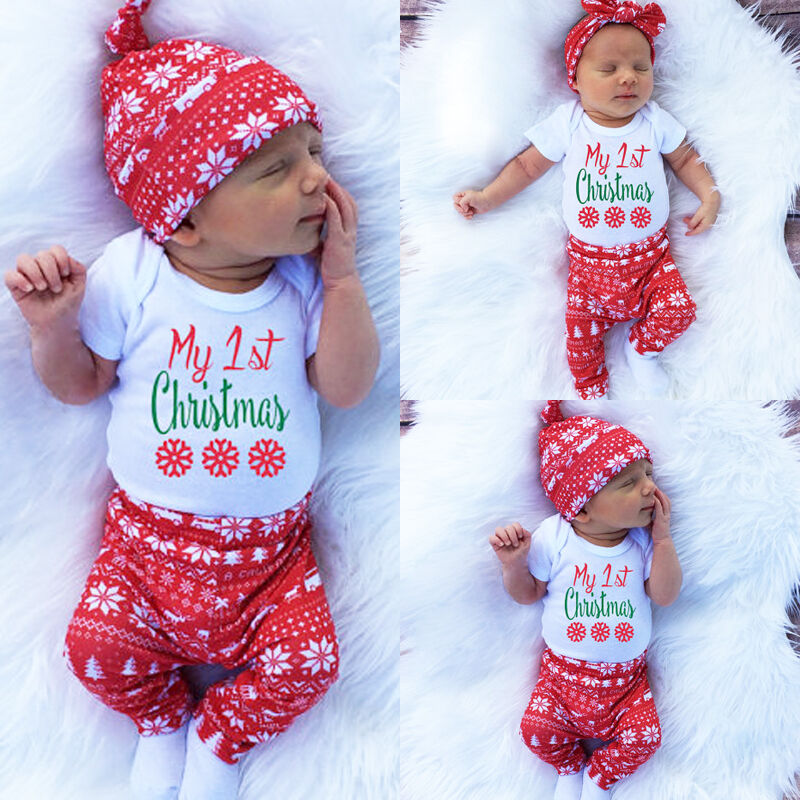 Christmas Newborn Baby Boys Girl Xmas Clothes Romper Bodysuit Hat Outfit Suit