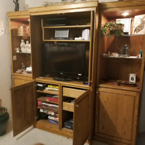 Solid oak custom entertainment cabinet comes in 4 pieces