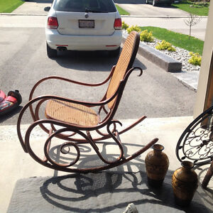Rocking chairs, wicker love seat