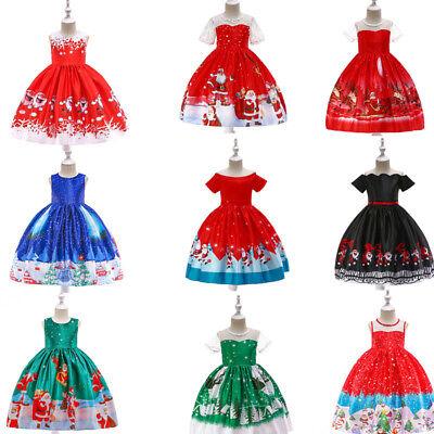 Mädchen Kinder Spitzen Nikolaus Weihnachtsmann Partykleid Vintage Weihnachten
