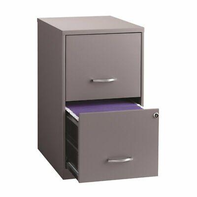 Hirsh 18 Deep 2 Drawer Metal File Cabinet In Platinum Gray