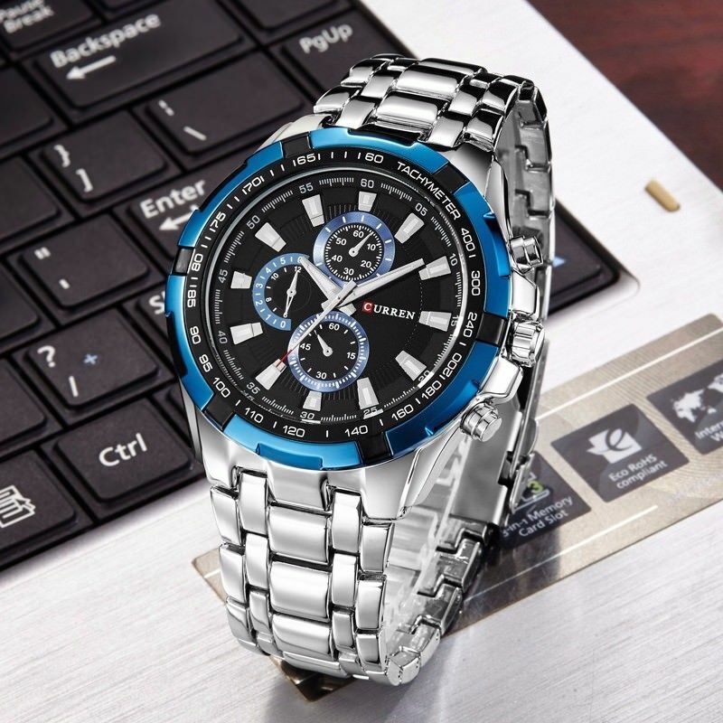 CURREN Military Army Stainless Steel Analog Quartz Date Men