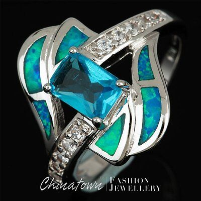 Blue Topaz Radiant Ring - 5x7 Radiant Blue Topaz Blue Fire Opal Silver Bypass Wrap Ring US Size 6 7 8 9 10