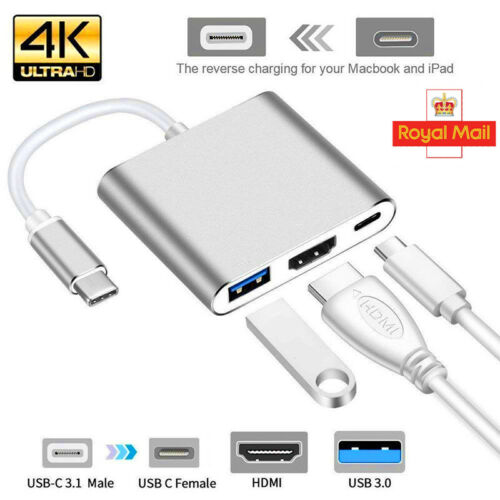 3in1 Type C to USB-C 4K HDMI USB 3.0 Hub Adapter Cable For Apple Macbook Silver