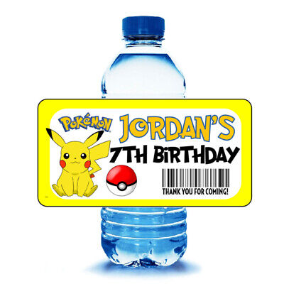 Pokemon Birthday Party Favors (20 POKEMON PIKACHU Birthday Party Water Bottle Labels Wrappers Party)