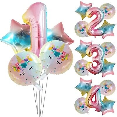 5x Number Balloon Cartoon Unicorn Foil Balloons Baby Birthday Shower Party Decor