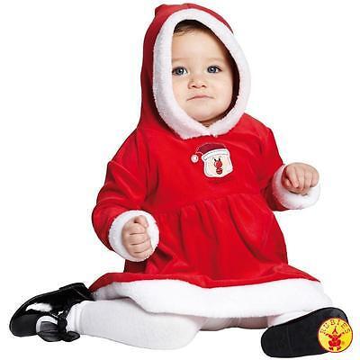 Baby Mädchen Nikolaus Kleid Kleidchen Samt Weihnachtsmann Kostüm Santa rot ()