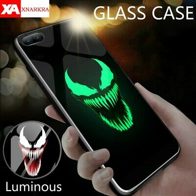Venom Deadpool SuperHero Luminous Glass case cover for iphone 6 7 8 X XS MAX XR