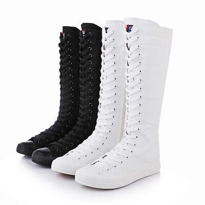 kniehoch SNEAKERS Punk Leinen Wade Modische Schuhe Bequem Womens Spitze Boots Up