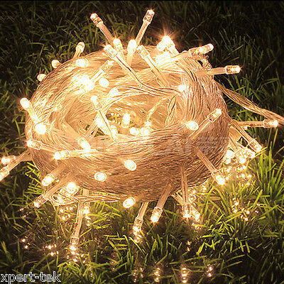 100 LED 10M Warm White String Fairy Lights Christmas Wedding Garden Party Xmas