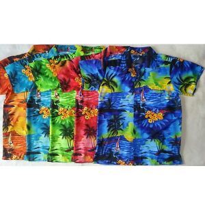 Mens-Hawaiian-Fancy-Dress-Shirt-Sunset-Boat-Print-S-M-L-XL-1st-Class-Postage