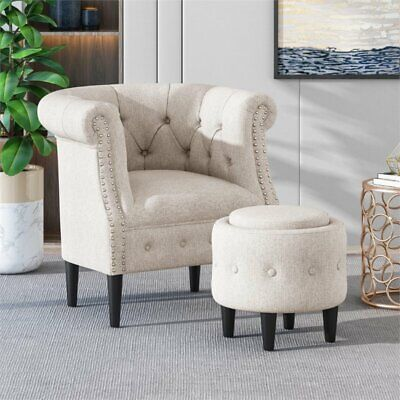 Noble House Beihoffer Petite Tufted Fabric Chair and Ottoman Set in Beige