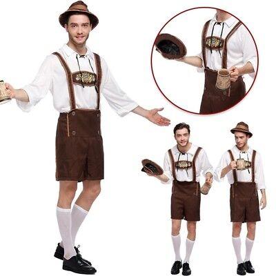 Deutsch Lederhosen (Herren Oktoberfest Lederhosen Deutsch Bayerische Bier Guy Kostüm neu)