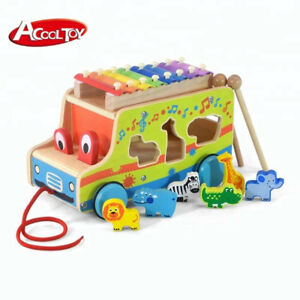 Wooden Pull Bus for kids 18M+