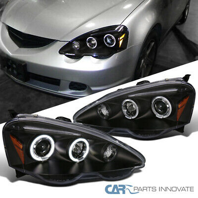 For Acura 02-04 RSX DC5 LED Halo Projector Headlights Head Lamp Black Left+Right 04 Acura Rsx Halo Projector