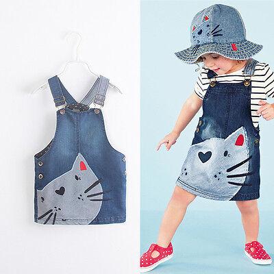 Toddler Baby Kids Girls Cat Denim Jeans Overalls Dress Skirt Clothes For 2-7Y](Denim Dress For Girls)