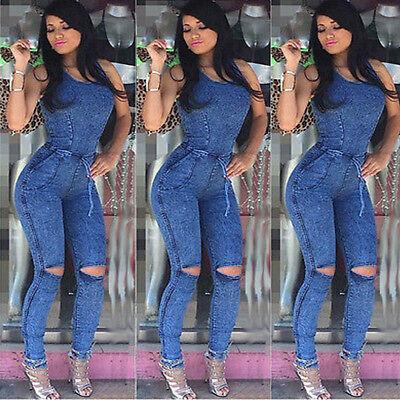 Summer Women Ladies Jeans Playsuit Bodycon Party Jumpsuit Romper Trousers New
