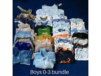 Baby boy 0-3 mth clothing bundle. 50 items including hat scarf and gloves and washable swim nappy.