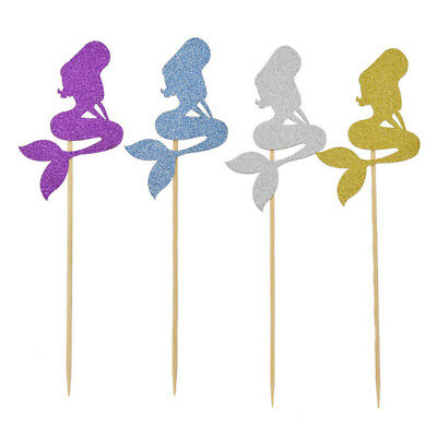 10 Pc Mermaid Cupcake Toppers Birthday Baby Shower Wedding Party Cake Decoration