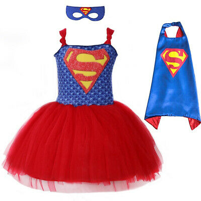 Superhero Girl Mask Costume Dress Tutu Summer Kid Dress Costplay Outfit Clothing - Costplay Costume
