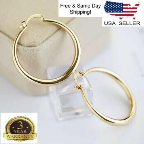 Women's Elegant Gold Plated Round Pierced Hoop Earrings