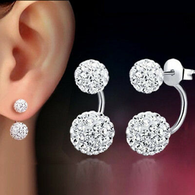 - 1 Pair Women Lady Jewelry Silver Double Beaded Rhinestone Crystal Stud Earrings