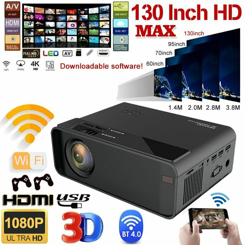 LED Smart Home Theater Projector Android 6.0 Wifi BT 1080P FHD Video Movie HDMI