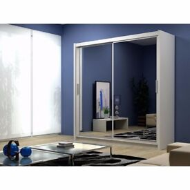 BEST SELLING BRAND!! BRAND NEW BERLIN 2 DOOR SLIDING WARDROBE WITH FULL MIRROR-EXPRESS DELIVERY