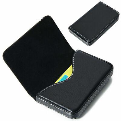 Id Credit Card Holder Case Wallet Tool Black Square Pocket Pu Leather Business